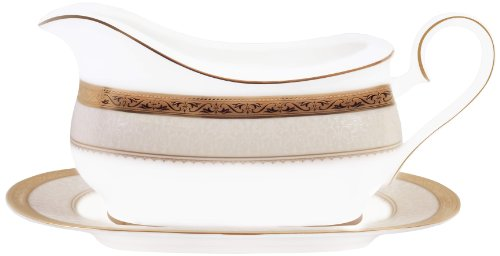 Noritake China Gravy Boat - Noritake Odessa 2-Piece Gravy Boat with Stand, Gold