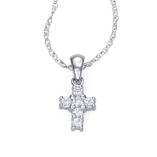 Ze 14k White Gold Diamond ''Baby'' Cross Necklace. 18'' by ZE