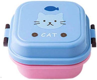 Caja de alimentos sellados Plástico saludable de dibujos animados caja de almuerzo del horno de microondas almuerzo cajas Bento envase de alimento mesa del cabrito Childen Lunchbox, 720ml Azul Box lun: Amazon.es:
