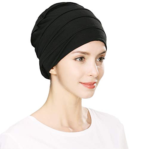 Jeff & Aimy Unisex Headwrap Head Scarf Chemo Beanie Hat Slouchy Skull Hat Cancer Patient Sleeping Hat Ponytail Turban Alopecia Bald with Ponytail Black 55-60CM