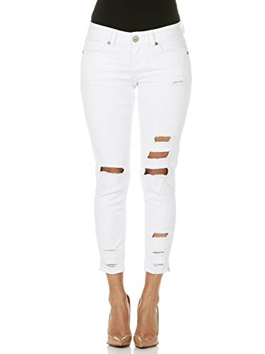 CG JEANS Plus Size Cute Juniors Big Mid Rise Large Ripped Torn Crop Skinny Fit, White Denim, - Jeans White Crop