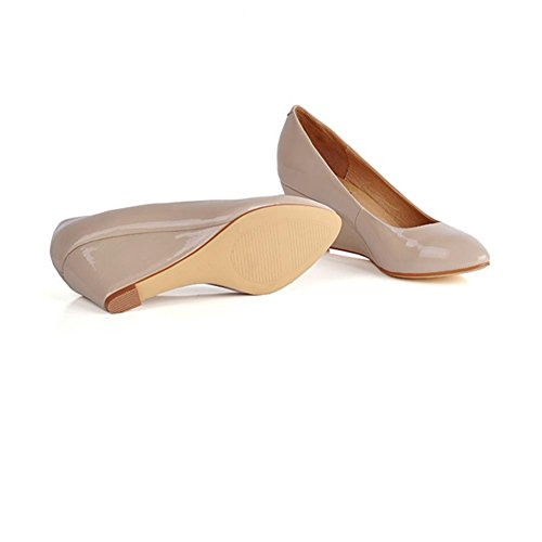 femenina XIAOGANG zapatos H de antideslizante con HCuatro Rosa la redondos goma cuesta moda OL profesionales negro estaciones cuero zapatos de 40 Pink rYrqPp