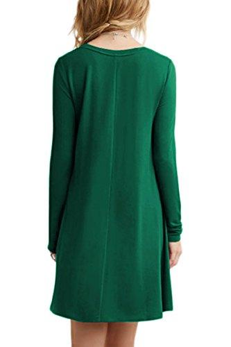 Lâche Occasionnels Vert Plus Omzin Dress 4xl Manches Longues Swing Size Femmes 2xs tCxQrshdoB