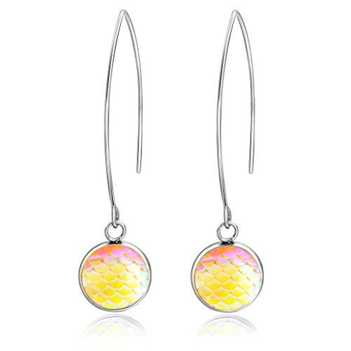 YOUSIKE Shiny Beauty Fish Scale Stainless Steel Drop Earrings Women Fashion Jewelry