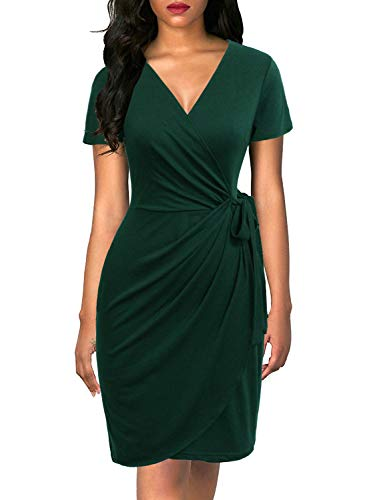 Lyrur Women's Summer Sexy V Neck Sheath Casual Party Business Work Wrap Dress Short Sleeves Knee Length(XL, 9069-Dark Green)