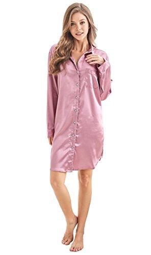 Women's Sleep Shirt, Satin Pajama Top Long Sleeve Nightshirt from Tony & Candice (M=US (8-10), Light Burgundy)