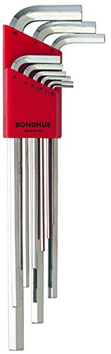 Bondhus 17199 Set of 9 Hex L-wrenches with BriteGuard? Finish, Extra Long Length, sizes 1.5-10mm ()