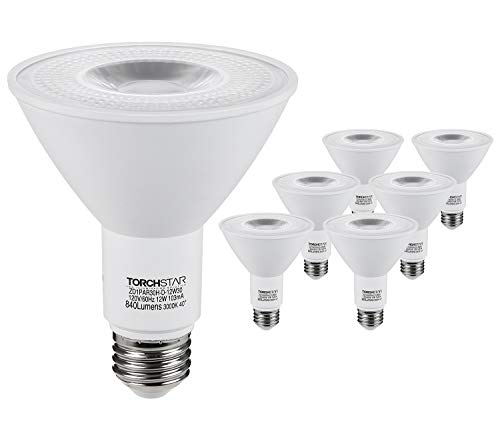 TORCHSTAR PAR30 LED Spot Light Bulb Long Neck, 12W 75W Equiv, Wet Location Dimmable, High CRI90+, 3000K Warm White, 840Lm, E26 Medium Screw Base, Energy Star & UL Listed, 3 Years Warranty, Pack of 6