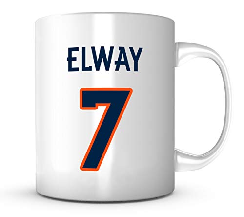 John Elway Mug - Jersey Number Football Coffee - Autographed Jersey Elway John