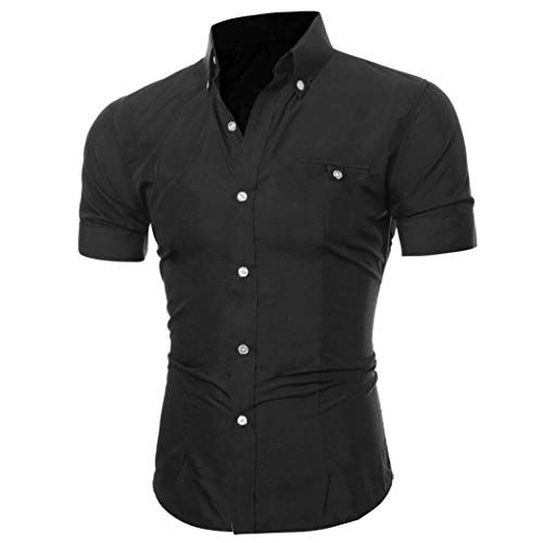 - Men Short Sleeve Dress Shirt Slim Fit Oxford Collar Solid Button Business Blouse(Black,Bust:36