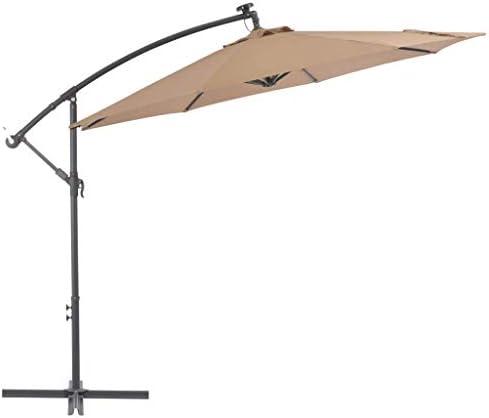 CHHDガーデンパラソルカンチレバーの傘、LEDライトとスチールポール付き300 cmトープホームガーデン芝生の庭屋外生活屋外の傘サンシェード