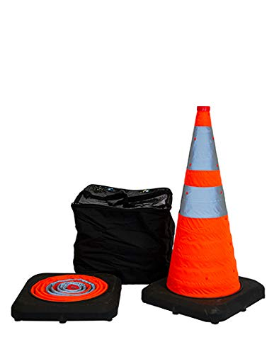 """28"""" Collapsible Pop Up Reflective Traffic Cones with Rubber Base"""