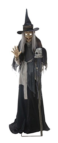 HALLOWEEN Animatronic ANIMATED LUNGING HAGGARD WITCH PROP DECOR-