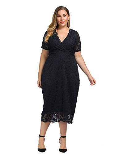 Chicwe Women's Plus Size Stretch Scalloped Lace Bodycon Dress – Party Wedding Cocktail Dress Twilight Navy 3X