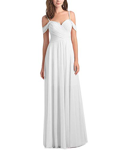 WuliDress Women's Long Chiffon Sweetheart Bridesmaid Dress Off The Shoulder Pleated A Line Formal Party Gown White Size 6
