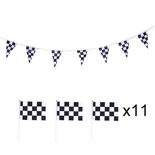 (Amosfun F1 Racing Banners Black and White Chequered Formula Hand Waving Flags Racing Car Theme Party Supplies)