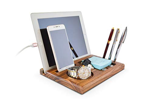 Handmade Walnut Tablet Phone - Docking - Station Key - Holder Wallet Watch - MyFancyCraft Organizer Compatible with Any Phone