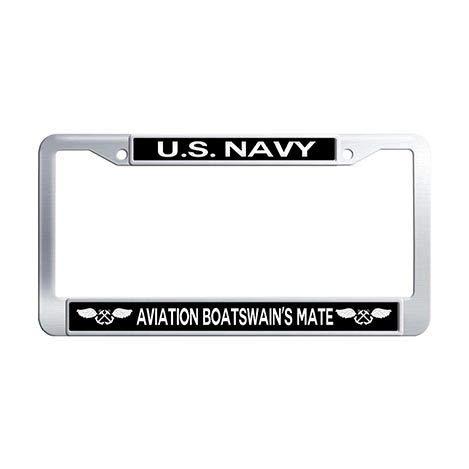 US Navy Aviation Boatswain's Mate License Plate Frame Holder,Stainless Steel Car Tag Holder ()