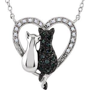 Argent sterling diamant noir et blanc 1/5/5chats coeur 45,7cm-Collier Femme