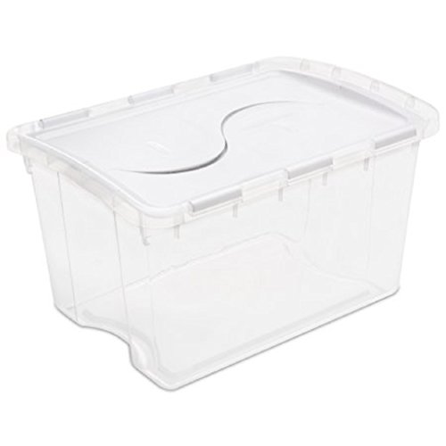 STERILITE 48 Qt./45 L Hinged Lid Storage Box, White (Case of 6)