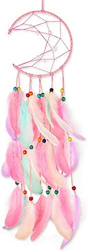 Moon Pink Dream Catcher, Children's Room Ornaments Wall Ornaments Dreamcatcher