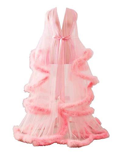 Changuan Sexy Feather Bridal Robe Tulle Illusion Long Wedding Scarf New Custom Made Blush L/XL