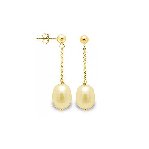 Boucles d'Oreilles Pendantes Perles de Culture Dorées et or jaune 750/1000 -Blue Pearls-BPS K341 W GOLD
