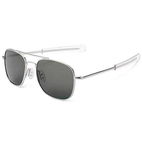 WELUK Men's Pilot Aviator Sunglasses Polarized 55mm Military Style with Bayonet Temples (Silver/Grey, - Square Aviator