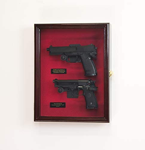 Large/Double 2 Pistol Handgun Revolver Gun Display Case Cabinet Rack Shadowbox (Cherry Finish, Red Background)