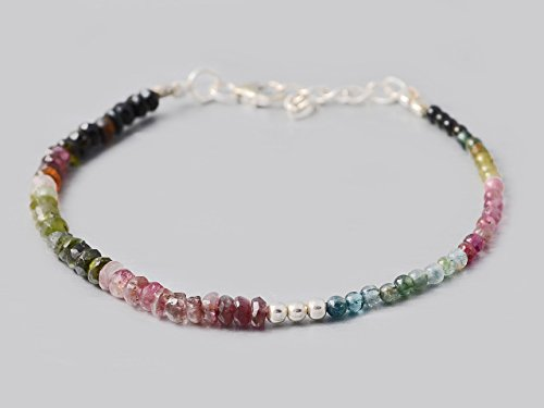 Handmade Dainty Watermelon Tourmaline Beads Bracelet for women with 925 Silver Findings 6.5