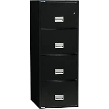 Phoenix Vertical 25 Inch 4 Drawer Legal Fireproof File Cabinet   Black