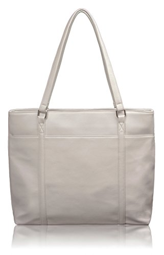 Overbrooke Classic Laptop Tote Bag, Light Gray/White - Vegan Leather Womens Shoulder Bag for Laptops up to 15.6 Inches ()