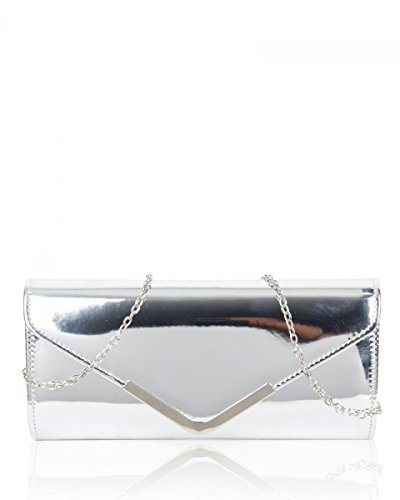 Prom Wedding Style Bag Craze Shiny Clutch Envelope Party Evening London NEW Women Silver Purse 0qwFpU8x