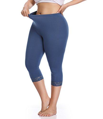 Leggings Cotton Lace - Women's Plus Size Lace Trim Soft Modal Cotton Leggings Workout Tights Pants Cropped Length (1X, Blue Grey)
