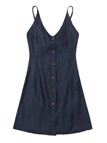 Cami Front Open - Verdusa Women's Spaghetti Strap Button Front Open Back Cami Dress Navy S