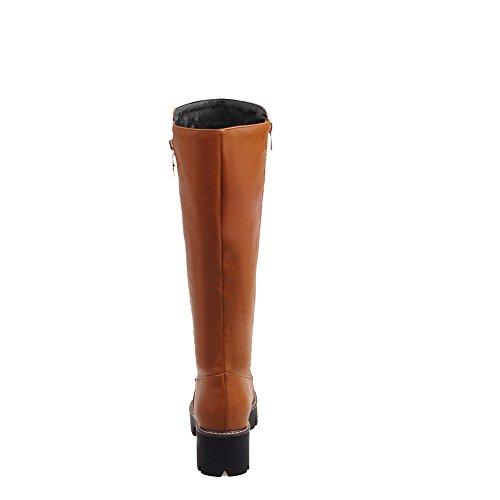AgooLar Womens Zipper Kitten-Heels PU Solid High-Top Boots Brown IpMcGhL