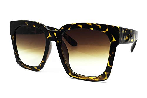 - O2 Eyewear 7151 Premium Oversize XXL Women Men Mirror Fashion Sunglasses (Oversized, AMBER BROWN)