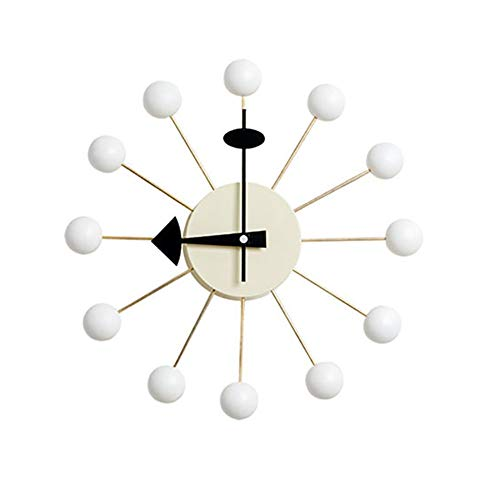 HLL Nelson Design Wall Clock Wooden White Candy Balls Modern Style for Living Room Bedrooms Office Kitchens Operated by Battery