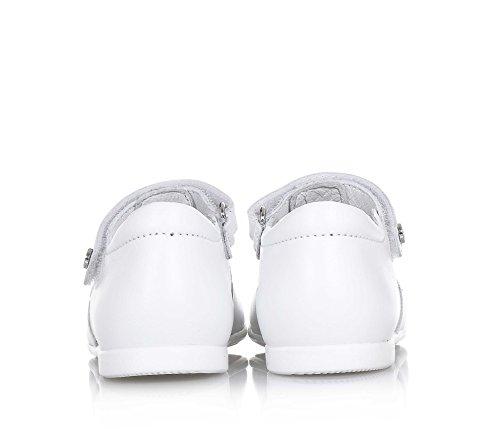 Naturino Weiße Ballerina Aus Leder, mit Klettverschluss, auf der Vorderseite Eine Dekorative Schleife mit Weißen, Mädchen