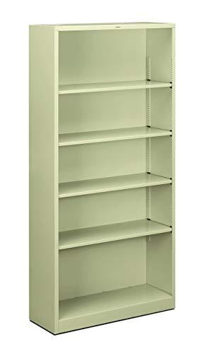 HON Brigade Metal Bookcase - 5-Shelf Bookcase, 34-1/2w x 12-5/8d x 72h, Putty (HS72ABC) (Renewed)