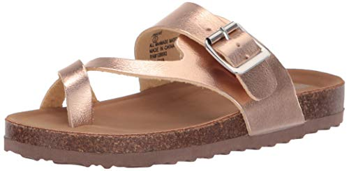 Steve Madden Girls' JWAIVE Flat Sandal, Rose Gold, 13 M US Little Kid -
