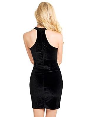St. Jubileens Women's Sexy Turtleneck Cut Out Sleeveless Bandage Bodycon Velvet Dress