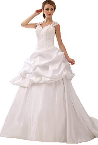 - JOYNO BRIDE Solid Ruffle Lacework Embroidery A-Line Sweetheart Court Train Satin Wedding Dress(18,Ivory)