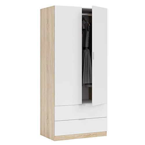 Habitdesign Armario de 2 Puertas y 2 cajones, Acabado en Color Roble Canadian y Blanco Artik, Medidas: 81 cm (Ancho) x 180 cm (Alto) x 52 cm (Fondo) a buen precio