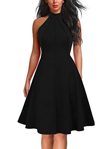 Berydress Women's Sleeveless Halter Neck A-Line Casual Party Little Black Dress (S, 6012-Black)
