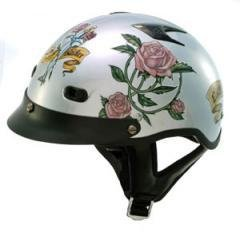 DOT Women's Lady Rider Gray Vented Motorcycle Half Helmet with Roses (Size L, LG, Large)