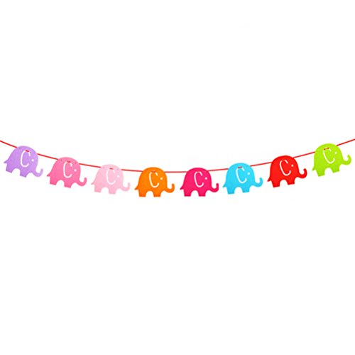 LUOEM Garland Bunting Banner Elephant for Baby Shower Birthday Party Decaration ()