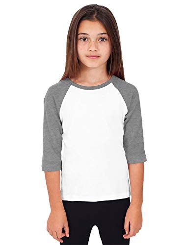 Hat and Beyond Kids Raglan Jersey Child Toddler Youth Uniforms 3/4 Sleeves T Shirts (Large (8-9 Year), (Kid) 5bh03_White/Heather Gray)