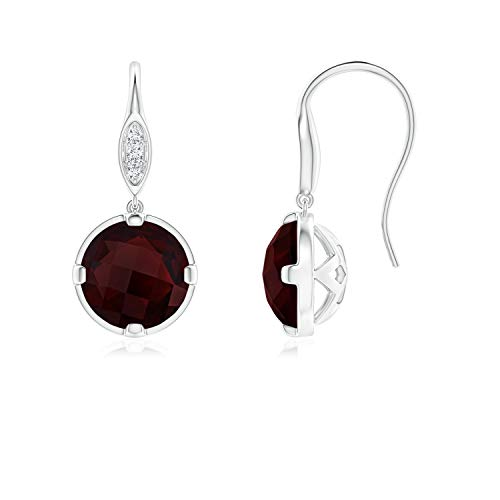 Round Garnet Fish Hook Earrings with Diamond Accents in 14K White Gold (6mm Garnet)