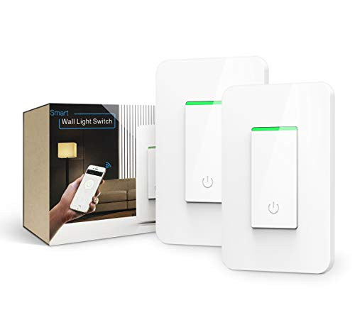 Alexa Light Switch, BLUEWIND Wi-Fi Light Switch Compatible with Amazon Alexa Google Assistant IFTTT, Voice/Touch/APP Control Smart Light Switch Single Pole FCC/ETL Listed Smart Life APP - 2 Packs